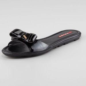 Prada Patent Bow Slide Sandal